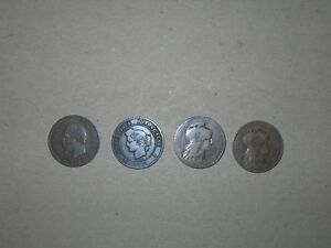 5 CENTIMES 4 COIN LOT FROM FRANCE  1856B 1872K 1899 AND 1902 .