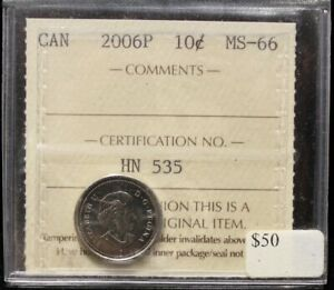 Click now to see the BUY IT NOW Price! 2006P CANADIAN 10 CENT ICCS MS 66