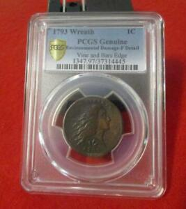 1793 WREATH CENT. VINE AND BARS EDGE. PCGS FINE DETAILS. GREAT LOOKING COIN  MF