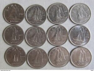 CANADA 10 CENTS  1968   1989    LOT OF 12 PCS