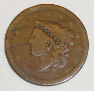 U.S. LARGE CENT PENNY BRAIDED HAIR DATE WORN OFF 1839 1857 FREE SHIP D26