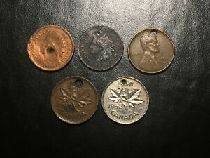 US AND CANADA CENT LOT WHEAT INDIAN HEAD CULL