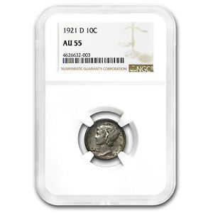 Click now to see the BUY IT NOW Price! 1921 D MERCURY DIME AU 55 NGC   SKU189201