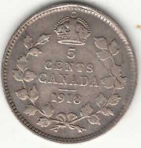 .925 SILVER 1918 GEORGE V 5 CENT PIECE F 12