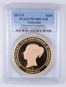 Click now to see the BUY IT NOW Price! PF70 DCAM 2013 P $200 AUSTRALIA 2 OZ GOLD CORONATION COMMEMORATIVE   PCGS  3569