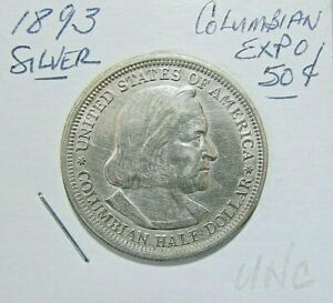1893 COLUMBIAN CHICAGO EXPO COMMEM SILVER 50C COIN   NICE UNC