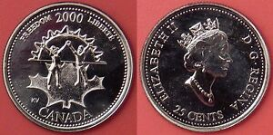 PROOF LIKE 2000 CANADA FREEDOM 25 CENTS FROM MINT'S SET