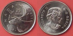 BRILLIANT UNCIRCULATED 2011 CANADA 25 CENTS FROM MINT'S ROLL