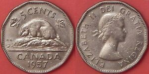 VERY FINE 1957 CANADA BUGTAIL 5 CENTS