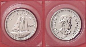 PROOF LIKE 2010 CANADA 10 CENTS SEALED IN CELLO