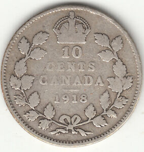 .925 SILVER 1918 GEORGE V 10 CENT PIECE VG 8