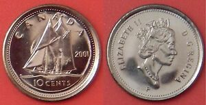 BRILLIANT UNCIRCULATED 2001P CANADA 10 CENTS FROM MINT'S ROLL