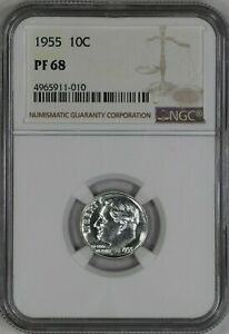 1955 ROOSEVELT DIME 10C SILVER NGC CERTIFIED PF 68 PROOF UNCIRCULATED  010