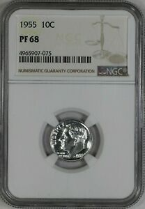 1955 ROOSEVELT DIME 10C SILVER NGC CERTIFIED PF 68 PROOF UNCIRCULATED  075