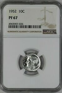 1952 ROOSEVELT DIME 10C SILVER NGC CERTIFIED PF 67 PROOF UNCIRCULATED  031