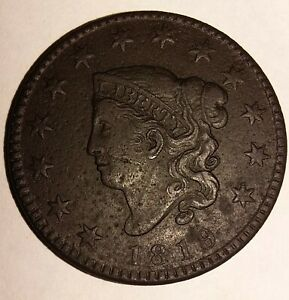 1819 CORONET HEAD LARGE CENT SMALL DATE CRISP DETAIL