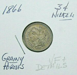 1866 3 CENT NICKEL   MID DETAILS VF/VF  OR SO OBSOLETE COIN
