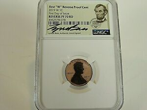 2019 W REVERSE PROOF LINCOLN CENT NGC REV. PF 70 RED FDI  LYNDALL BASS SIGNED