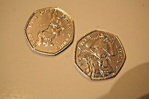 COINS 50P X2 COLLECTABLE BEATRIX POTTER PETERRABBIT & BENJAMINBUNNY UNCIRCULATED