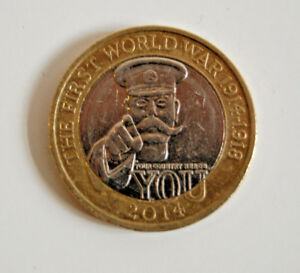 2 COIN COLLECTABLE THE FIRST WORLD WAR. 2014 COMMEMORATIVE. GOOD USED CONDITION