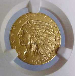 NICE 1909 D NGC CERTIFIED AU55 $5 UNITED STATES INDIAN GOLD AMERICAN COIN