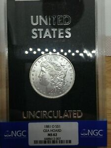 Click now to see the BUY IT NOW Price! 1881 O GSA MORGAN SILVER DOLLAR   MU CARD & BOX NGC MS 62 NON CC