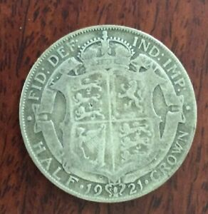 1921 GREAT BRITAIN HALF CROWN SILVER COIN