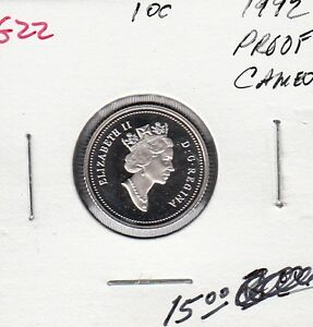 G22 CANADA 10C   10 CENTS COIN 1992 PROOF FROSTED CAMEO    CHARLTON $15.00
