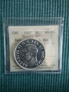 Click now to see the BUY IT NOW Price! 1947 CANADA SILVER DOLLAR PTD 7 DOT 3XHP AU 55   NO TAX