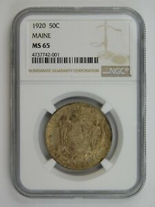 1920 MAINE CENTENNIAL COMMEMORATIVE HALF DOLLAR NGC GRADED MS 65  152