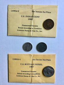 US COLLECTION OF 4 COINS 10C MERCURY BUFFALO NICKEL INDIAN AND STEEL PENNIES