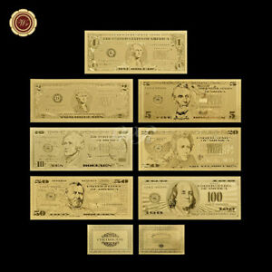 US USD $ DOLLAR GOLD BANKNOTE SET GELDSCHEIN SCHEIN NOTE USA GOLDFOLIE KARAT NEU