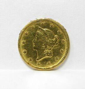 1853 GOLD $1 U.S. DOLLAR  FORMER JEWELRY PIECE NICE DETAILS GOLD COIN