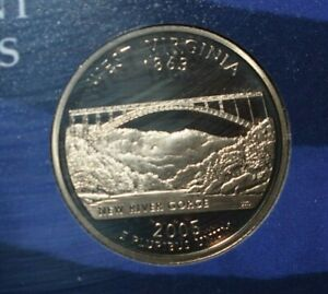 2005 PROOF  WEST VIRGINIA QUARTER FROM U S MINT 5 COIN PROOF SET