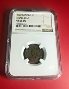 1920 CANADA 1C NGC SMALL CENT VF 30 BN