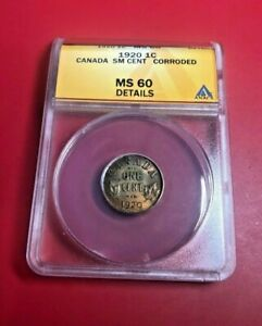 1920 CANADA 1C ANACS MS 60 DETAILS  MINT STATE 60  SMALL CENT CANADIAN 1C COIN
