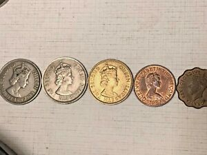 9 BRITISH & FRENCH COLONIAL COINS   CYPRUS HONG KONG JAMAICA JERSEY POLYNESIA