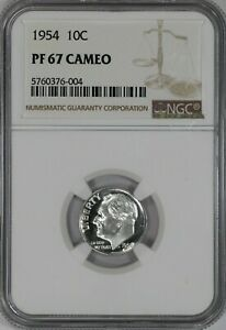 1954 PROOF ROOSEVELT DIME 10C NGC CERTIFIED PR PF 67 UNCIRCULATED CAMEO  004