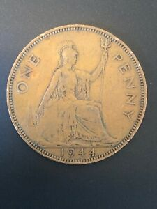 1944   ONE PENNY   1D COIN   KING GEORGE VI   GREAT BRITAIN.  YEAR