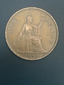 1946 ONE PENNY   1D COIN   KING GEORGE VI   GREAT BRITAIN.  YEAR