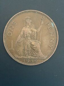 1939  ONE PENNY   1D COIN   KING GEORGE VI   GREAT BRITAIN.  YEAR