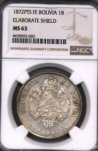 Click now to see the BUY IT NOW Price! 1872 PTS FE OVAL SHIELD BOLIVIA 1B BOLIVIANO SILVER COIN NGC MS 63 L B VARIETY