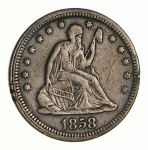1858 SEATED LIBERTY QUARTER   CIRCULATED  7379