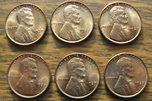Click now to see the BUY IT NOW Price! LOT OF SIX RED CHOICE BU 1937 LINCOLN CENTS WITH SPOTS