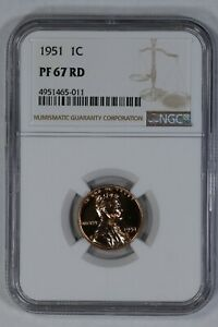 1951 PROOF LINCOLN WHEAT CENT PENNY 1C NGC CERTIFIED PF PR 67 RD RED  011