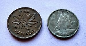 LOT OF 2 1947 ML CANADA SILVER DIME 10 CENTS & PENNY EXACT COINS