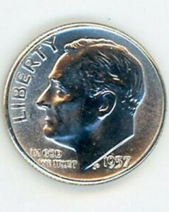 1957 ROOSEVELT DIME IN GEM BRILLIANT UNCIRCULATED CONDITION