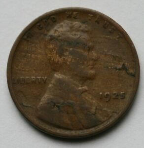 1925 LINCOLN WHEAT CENT LAMINATION ERROR US COIN 1C PENNY