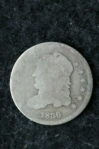 1836 P CAPPED BUST HALF DIME 5 CENT SILVER & COPPER COIN /  Y 57