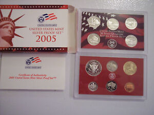 2005 SILVER PROOF SET 10 COINS COA & OGP ERROR SET 001